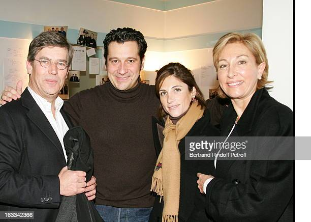 Olivier De Funes with wife and daughter at Le Triomphe De Laurent Gerra At Olympia In Paris