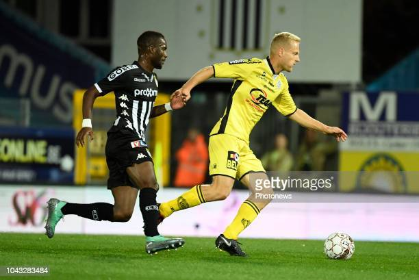 Olivier Deschacht and Adama Niane forward of Sporting Charleroi of Sporting Lokeren pictured during match of the Jupiler Pro League Season 2017 2018...