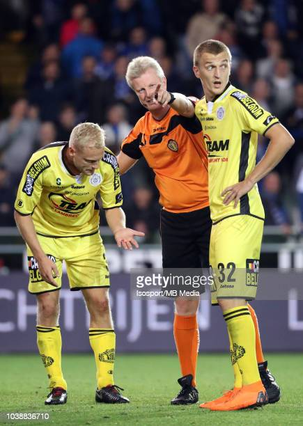 Olivier Deschacht Christof Dierick and Jakov Filipovic pictured during the Jupiler Pro League match between Club Brugge and KSC Lokeren OV at Jan...