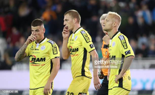 Olivier Deschacht looks dejected during the Jupiler Pro League match between Club Brugge and KSC Lokeren OV at Jan Breydel Stadium on September 14...