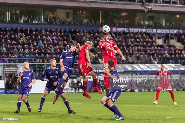 Olivier Deschacht of RSC Anderlecht Lukasz Teodorczyk of RSC Anderlecht Uros Spajic of RSC Anderlecht Robert Lewandowski of FC Bayern Munich Javi...