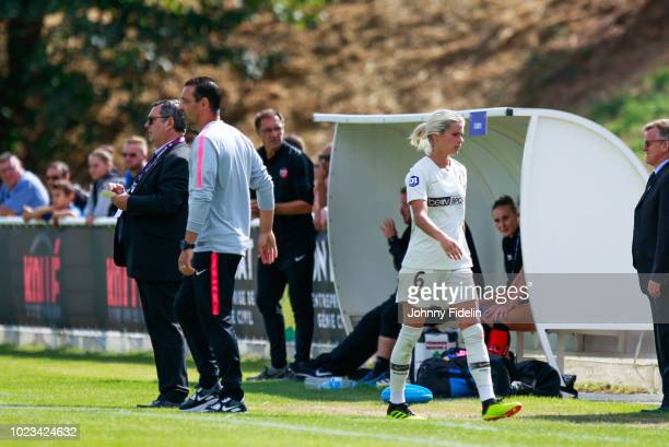 Olivier Echouafni head coach and Andrine Hegerberg of PSG during Ligue 1 match between Fleury and Paris Saint Germain PSG on August 25 2018 in...