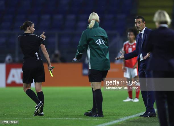 Olivier Echouafni head coach of France looks confused with the referee Katalin Kulcsar decision during the UEFA Women's Euro 2017 Group C match...