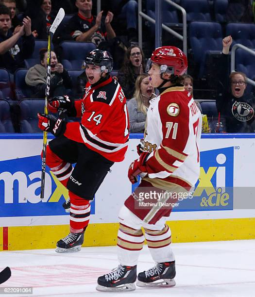 Olivier Garneau of the Quebec Remparts celebrates his goal against the Acadie-Bathurst Titan during their QMJHL hockey game at the Centre Videotron...