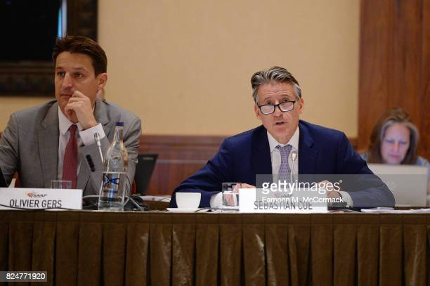 Olivier Gers and Sebastian Coe during the 210th IAAF Council Meeting on July 31 2017 in London England