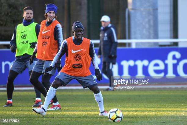 Olivier Giroud Adrien Rabiot and Ngolo Kante of France during training session at Centre National du Football on March 20 2018 in Clairefontaine en...