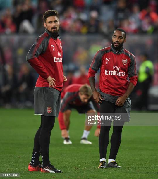Olivier Giroud and Alexandre Lacazette of Arsenal during the Open Arsenal Training Session at the ANZ Stadium on July 14 2017 in Sydney Australia