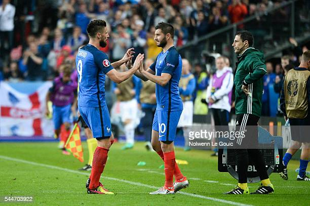 Olivier Giroud and Andre Pierre Gignac of France during the UEFA Euro 2016 Quarter Final between France and Iceland at Stade de France on July 3 2016...