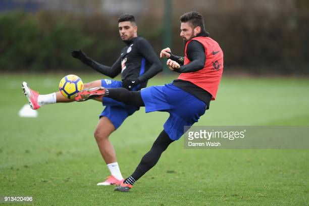Olivier Giroud and Emerson Palmieri of Chelsea during a training session at Chelsea Training Ground on February 2 2018 in Cobham England