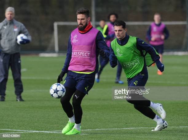 Olivier Giroud and Granit Xhaka of Arsenal during the Arsenal Training Session at London Colney on February 14, 2017 in St Albans, England.