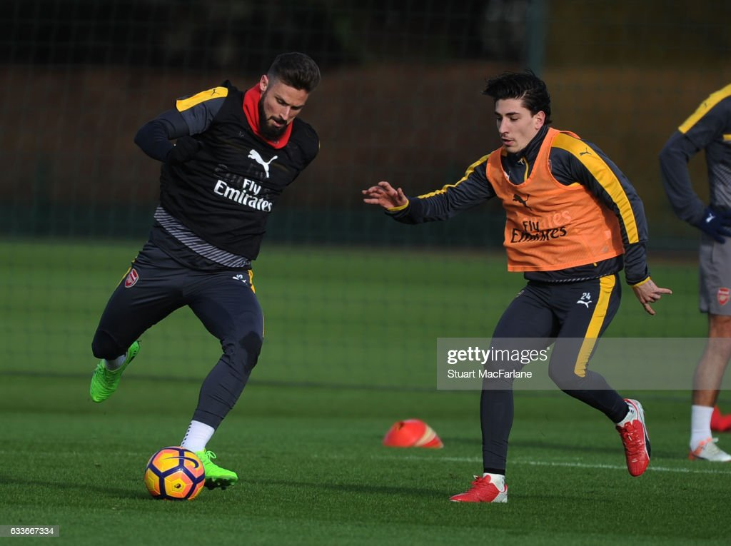Olivier Giroud and Hector Bellerin of Arsenal during a training session at London Colney on February 3, 2017 in St Albans, England.