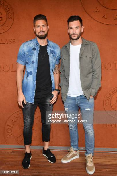 Olivier Giroud and Hugo Lloris attend the 2018 French Open Day three at Roland Garros on May 29 2018 in Paris France