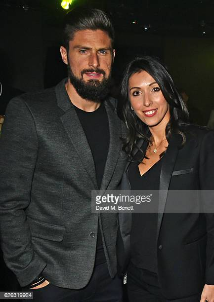 Olivier Giroud and Jennifer Giroud attend an after party following the World Premiere of I Am Bolt at Tape London on November 28 2016 in London...