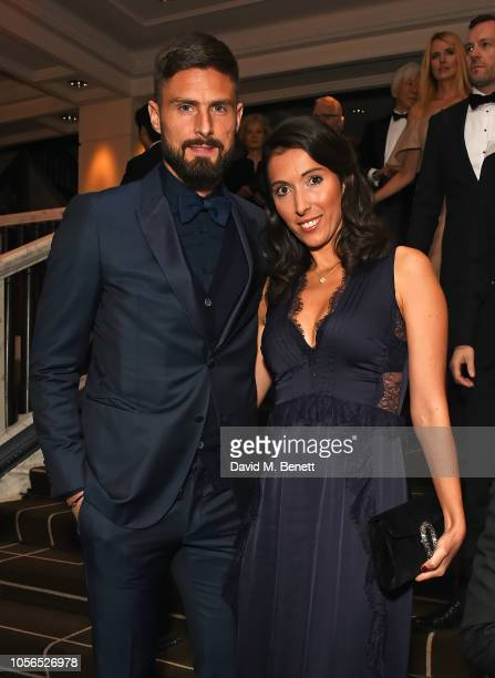 Olivier Giroud and Jennifer Giroud attend The 9th Annual Global Gift Gala held at The Rosewood Hotel on November 2 2018 in London England