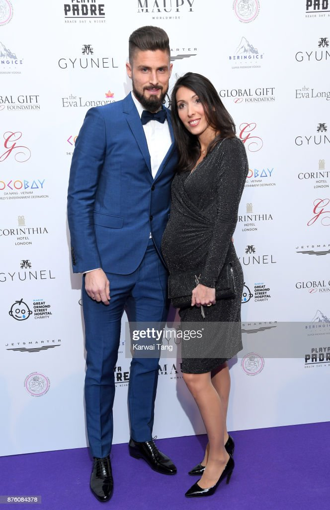 Olivier Giroud and Jennifer Giroud attend The Global Gift gala held at the Corinthia Hotel on November 18, 2017 in London, England.