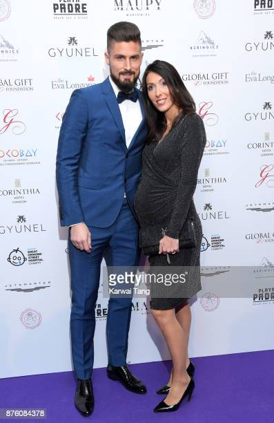 Olivier Giroud and Jennifer Giroud attend The Global Gift gala held at the Corinthia Hotel on November 18 2017 in London England