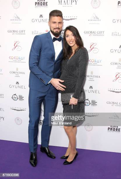 Olivier Giroud and Jennifer Giroud attend The Global Gift Gala London held at Corinthia Hotel London on November 18 2017 in London England
