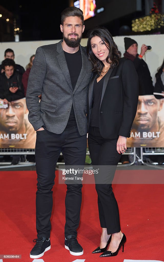 Olivier Giroud and Jennifer Giroud attend the World Premiere of 'I Am Bolt' at Odeon Leicester Square on November 28, 2016 in London, England.