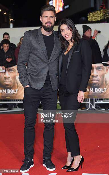 Olivier Giroud and Jennifer Giroud attend the World Premiere of I Am Bolt at Odeon Leicester Square on November 28 2016 in London England