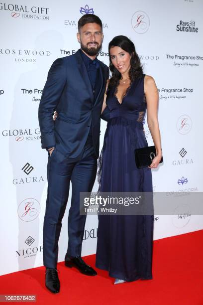 Olivier Giroud and Jennifer Giroud attends The 9th Annual Global Gift Gala held at The Rosewood Hotel on November 02 2018 in London England