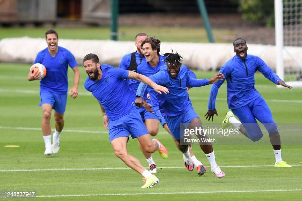 Olivier Giroud and Michy Batshuayi of Chelsea during a training session at Chelsea Training Ground on June 9, 2020 in Cobham, England.