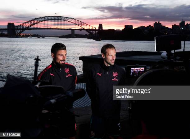 Olivier Giroud and Petr Cech of Arsenal launch do media work following the launch of the new Puma Arsenal 3rd kit on Fort Dennison on July 12 2017 in...