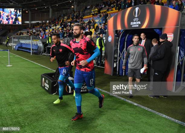 Olivier Giroud and Theo Walcott of Arsenal before the UEFA Europa League group H match between BATE Borisov and Arsenal FC at BorisovArena on...