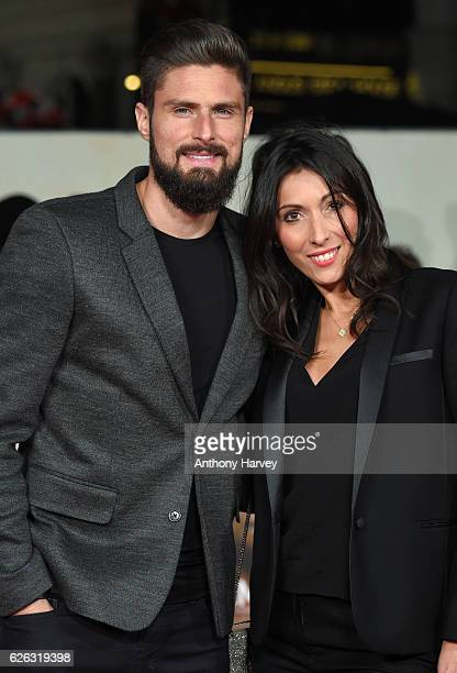 Olivier Giroud and wife Jennifer Giroud attend the World Premiere of I Am Bolt at Odeon Leicester Square on November 28 2016 in London England
