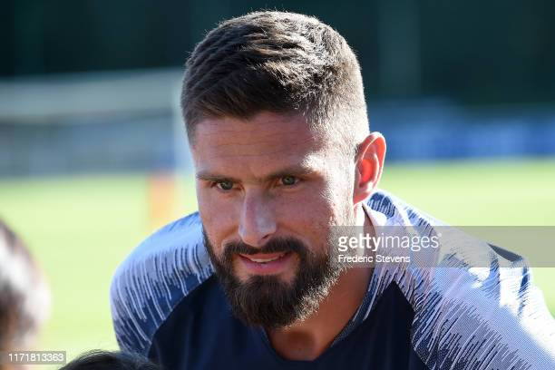 Olivier Giroud arrives to a training session at the French National Football Centre as part of the preparation to UEFA Euro 2020 on September 02 2019...