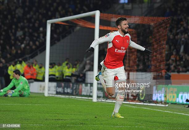 Olivier Giroud celebrates scoring the 2nd Arsenal goal during the Emirates FA Cup 5th Round replay between Hull City and Arsenal at the KC Stadium on...