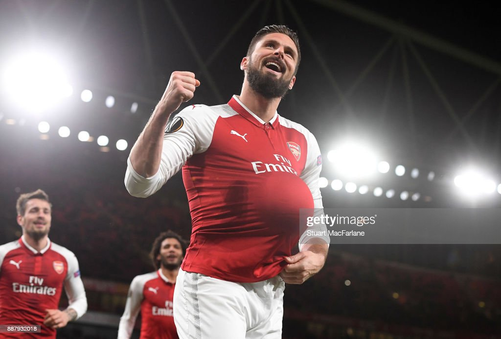 Olivier Giroud celebrates scoring the 5th Arsenal goal during the UEFA Europa League group H match between Arsenal FC and BATE Borisov at Emirates Stadium on December 7, 2017 in London, United Kingdom.
