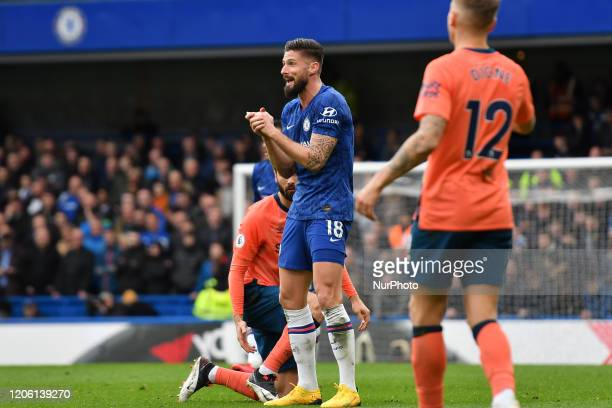 Olivier Giroud during the Premier League match between Chelsea and Everton at Stamford Bridge London on Sunday 8th March 2020
