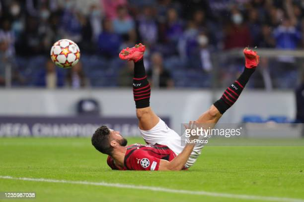 Olivier Giroud forward of AC Milan in action during the UEFA Champions League Group stage - Group B match between FC Porto and AC Milan, at Dragao...