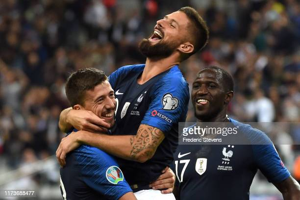Olivier Giroud forward of France football team congratulation Clement Lenglet defender of France football team after his goal during the 2020 UEFA...