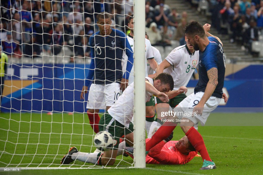 Olivier Giroud forward of France Football team goal during the friendly match between France and Ireland at Stade de France on May 28, 2018 in Paris, France. The French national football team continue his preparation for the upcoming FIFA 2018 World Cup in Russia with the first friendly match.