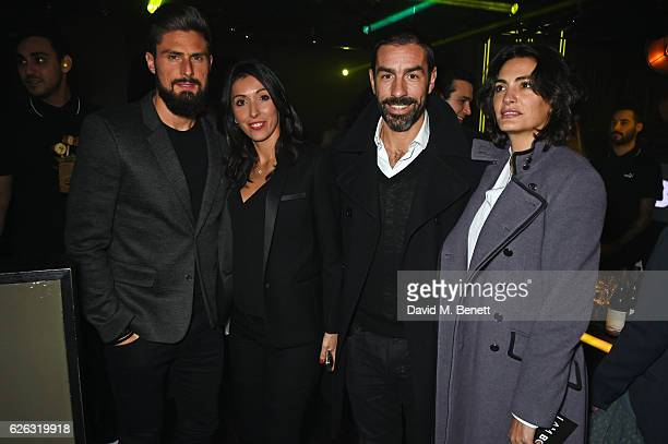 "Olivier Giroud, Jennifer Giroud, Robert Pires and Jessica Lemarie-Pires attend an after party following the World Premiere of ""I Am Bolt"" at Tape..."