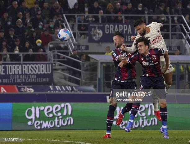 Olivier Giroud of AC Milan in action during the Serie A match between Bologna FC and AC Milan at Stadio Renato Dall'Ara on October 23, 2021 in...