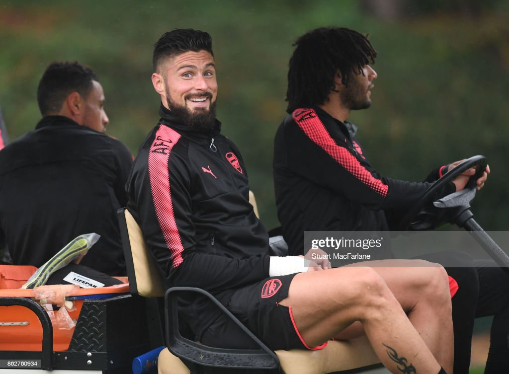 Olivier Giroud of Arsenal after a training session at London Colney on October 18, 2017 in St Albans, England.