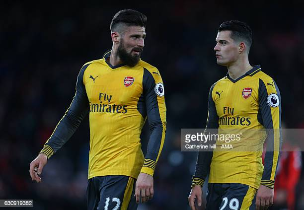 Olivier Giroud of Arsenal and Granit Xhaka of Arsenal during the Premier League match between AFC Bournemouth and Arsenal at Vitality Stadium on...