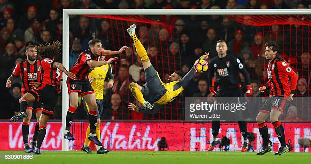 Olivier Giroud of Arsenal attempts a bicycle kick during the Premier League match between AFC Bournemouth and Arsenal at Vitality Stadium on January...