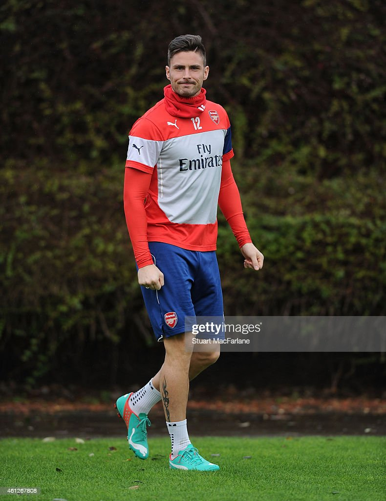 Olivier Giroud of Arsenal before a training session at London Colney on January 10, 2015 in St Albans, England.