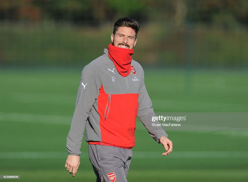 Olivier Giroud of Arsenal before a training session in preparation for the Premier League match against AFC Bournemouth at London Colney on November 26, 2016 in St Albans, England.