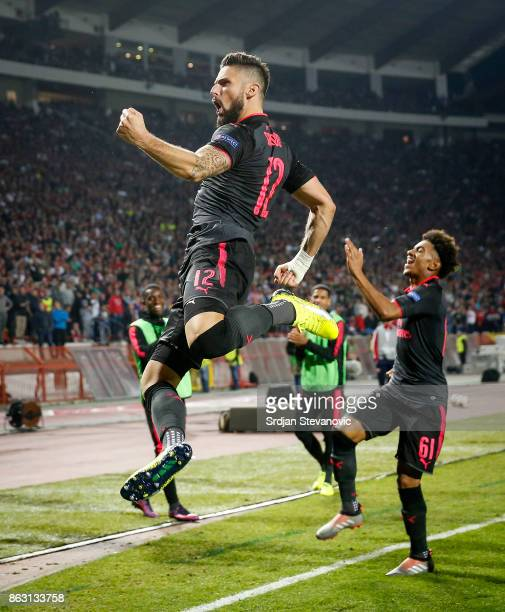 Olivier Giroud of Arsenal celebrates after scoring a goal during the UEFA Europa League group H match between Crvena Zvezda and Arsenal FC at Rajko...