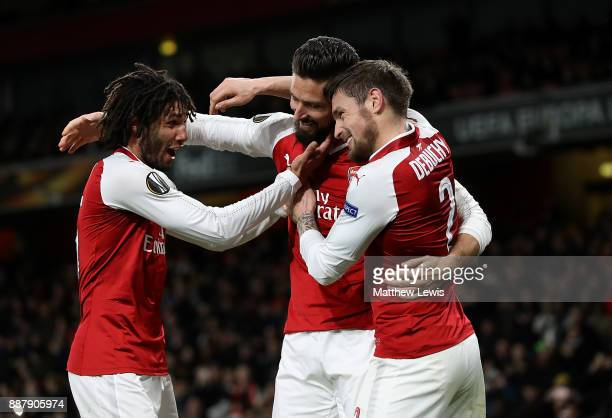 Olivier Giroud of Arsenal celebrates after scoring his teams fifth goal of the game from the penalty spot during the UEFA Europa League group H match...