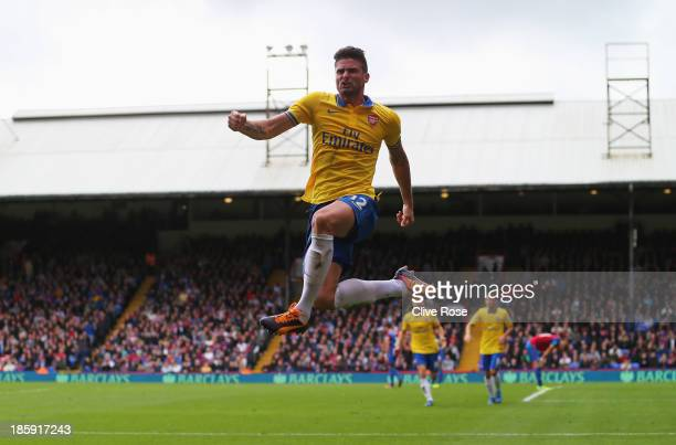 Olivier Giroud of Arsenal celebrates his goal during the Barclays Premier League match between Crystal Palace and Arsenal at Selhurst Park on October...