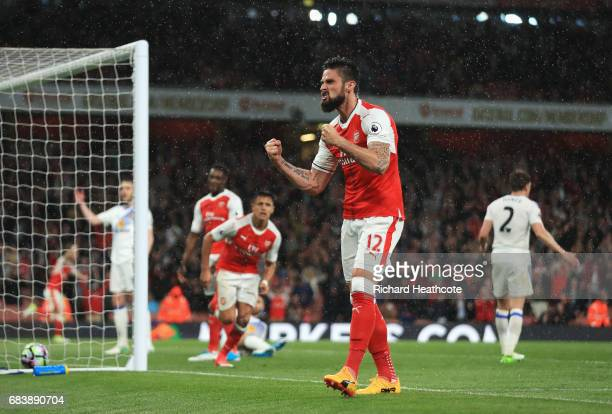 Olivier Giroud of Arsenal celebrates his sides second goal during the Premier League match between Arsenal and Sunderland at Emirates Stadium on May...