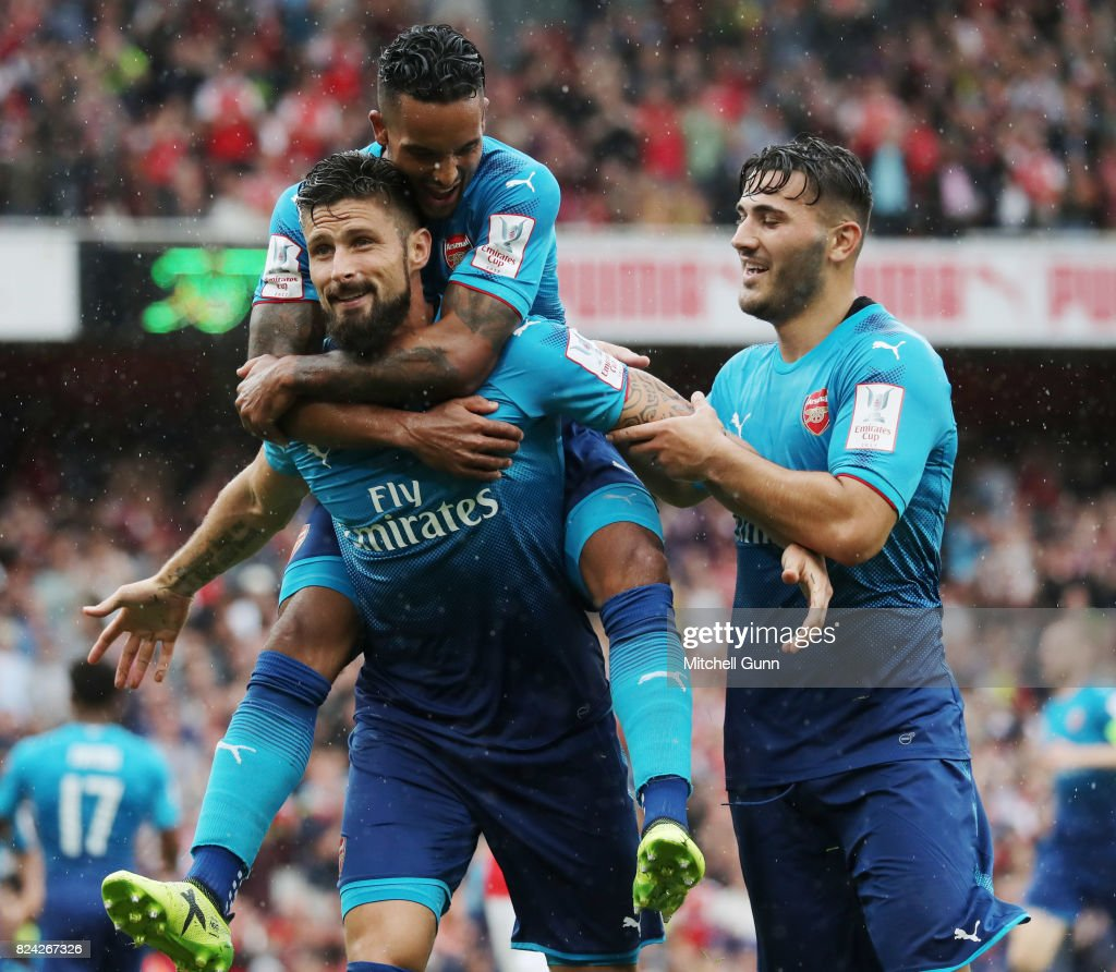 Olivier Giroud of Arsenal celebrates scoring a goal during the Emirates Cup match between Benfica and Arsenal at The Emirates Stadium on July 29, 2017 in London, United Kingdom.