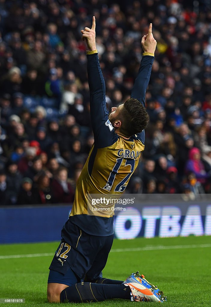 Olivier Giroud of Arsenal celebrates scoring his team's first goal during the Barclays Premier League match between West Bromwich Albion and Arsenal at The Hawthorns on November 21, 2015 in West Bromwich, England.