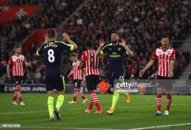 Olivier Giroud of Arsenal celebrates scoring his team's second goal with Aaron Ramsey of Arsenal during the Premier League match between Southampton...
