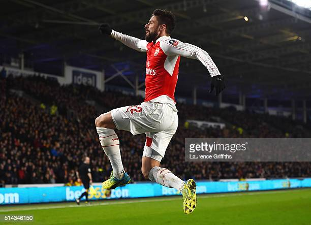 Olivier Giroud of Arsenal celebrates scoring the second Arsenal goal during the Emirates FA Cup Fifth Round Replay match between Hull City and...